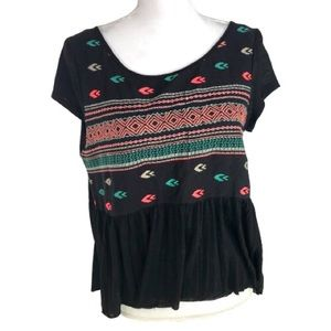 American Eagle Outfitters Boho raw edge Top
